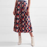 Wholesale Navy Blue Skirt Woman - Brand Designer Women Pleated Skirts 2018 Spring Summer Fashion Print High Waist Mid Length Navy Blue Party Birthday Skirts