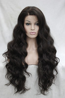 Wholesale Good Synthetic Lace Front Wigs - 2017 super Very quality good fashion long Wavy synthetic Medium Brown Lace Front Wig Wavy wigs