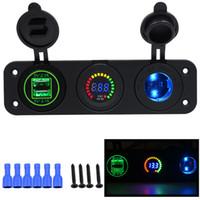 voltmetre led toptan satış-Araç Şarj Motosiklet Fiş Çift USB Adaptörü + 12 V / 24 V Çakmak Soket Mavi LED + Dijital Voltmetre