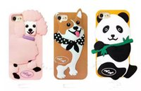 3D Cute Lovely Cartoon Dog Silicone Shell Cover Protector caso animal para Iphone 6 6s plus 8 7 plus