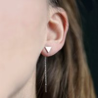 New Simple Long Chain Tassel Copper Triangle Stud Earrings pour femme Cute Ear Studs Earing Jewelry Factory Vente directe Livraison gratuite B1187