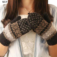 Wholesale Women Stylish Winter - Wholesale- Newly Stylish Fashion Knit Wool Women Girl Outdoor Snowflake Winter Keep Warm Mittens Gloves Femme Windproof Femme No223