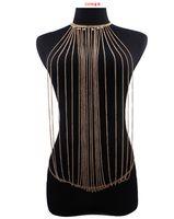 Wholesale Punk Swimsuit - New Design Fashion Punk Elegant Multilayers Present Chain Metal Tassel Body Chain For Women Swimsuit Jewelry Symmetry Bikini Sexy Body Chain