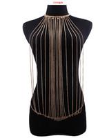 bikiniler tasarımları toptan satış-Yeni Tasarım Moda Punk Zarif Bulunan Çoklu Mevcut Mevcut Zincir Metal Püskül Vücut Zinciri Kadınlar Için Mayo Takı Simetri Bikini Seksi Vücut Zinciri