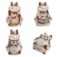 Hot Sale Cute Cats Canvas Shoulder Bag Jacquard Embroidered Kids Teenager Girls Backpack School Bags CCA7577 100pcs