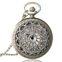 Wholesale-Bronze Antique Vintage Spider Web Collier pendentif creux Quartz Steampunk Montre de poche P01