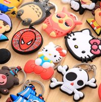 Wholesale Cute Cross Ring - Cartoon cute lovely Hero Style PVC Car Keychain Key Chain Ring Bag Pendant 200pcs