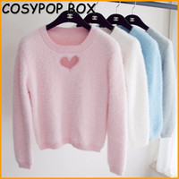Wholesale Sexy Korean Lady Blouse - Wholesale- Korean 2017 Sweet Sexy Woman Sweater Hollow Out Heart Knitting Blouse Mohair Pullover Crop Top Ladies Pink White Gray AL85