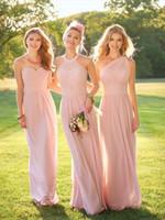 Wholesale Dress Winters - 2017 Blush Pink Cheap Chiffon Bridesmaid Dresses Halter Neck Floor Length Pleats Maid of Honor Dresses Custom Made
