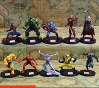Wholesale Wholesale Superheros - 10pcs set Avengers Superheros Iron Man Spiderman Wolverine Quicksilver Ben Grimm Hulk PVC Action Figure Toy