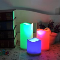 Wholesale color changing wax - 1 Set 3 Pcs Color Changing Led Candle Safe For Children Flameless Wax Candles With Timer Remote Control Home Decoration