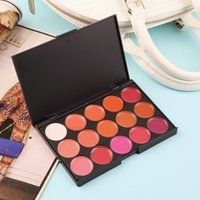 Wholesale Wholesale Colored Lip Gloss - Wholesale-Multi-colored 15 Colors Makeup Palette Cosmetic Gloss Lipstick Lip of One Set New Quality