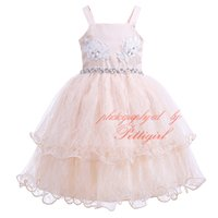 Wholesale wholesale beaded wedding dresses online - Pettigirl New Girl Party Dress Sling Champagne Flower Embroidery Wirh Bow Beaded Layered Tulle Kids Wedding Slip Clothing GD81207 L