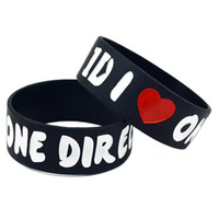 j'adore un bracelet en silicone à une direction achat en gros de-50PCS / Lot I Love One Direction 1D Silicone Bracelet 1