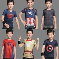 Wholesale Boy Batman Shorts - 2016 kids tights jersey hero boys fitness workout clothes Iron captain America superman batman spiderman messi Ronaldo kids shirt