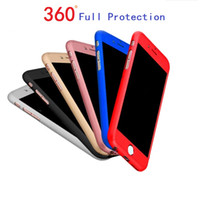 Wholesale Iphone Metal Protector - Ultra-thin Hybrid 360 Degree Full Body Protective Case Cover with Tempered Glass Screen Protector for Apple iPhone 6 6S 7 Plus Phone Case