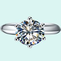 Wholesale Diamond Solid Wedding Ring - Wholesale 2.0 ct Wedding rings classic round synthetic diamond rings for women 18K white gold solid silver PT950 stamped