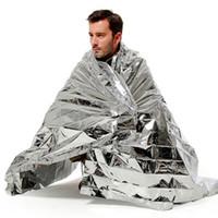 Wholesale waterproof thermal curtains resale online - 2000pcs waterproof Emergency blanket Survival pads Rescue curtain life saving blanket Tent Solar Thermal