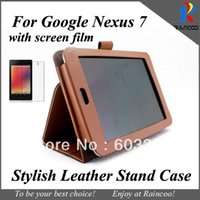 Wholesale Asus Nexus Screen Protector - Wholesale- PU leather case for Google Nexus 7 tablet pc + Screen Protector, for google 7 tablet stand cover and Clear Screen film