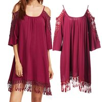 Wholesale Cold Dresses - Hot Selling Summer Dresses for Women Clothes Fashion Cold Shoulder Crochet Lace Sleeve Loose Beach Dress 6 Color S-XXL ZL3056
