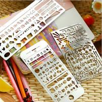 stahlschablone großhandel-Edelstahlschablonen Hohl Lineal Planer Tagebuch Notebook DIY Tool Vorlage