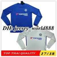 Wholesale Chelsea Footballs - TOP QUALITY 17 18 Chelsea home soccer jersey Long sleeve HAZARD MORATA HAZARD PEDRO KANTE DIEGO COSTA WILLIAN DAVID LUIZ away football shirt