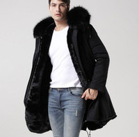 Wholesale Men S Jacket Rabbit - 2018 Mr Mrs itlay black fur canvas long black jackets Mr Mrs furs rabbit fur winter parka