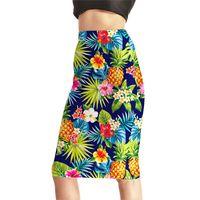 Wholesale Summer Female Slim Hip Skirt - Womens High Waist Digital Print Pencil Skirts Female Fashion Summer Pineapple Flowers Slim Sexy Package Hip Skirts