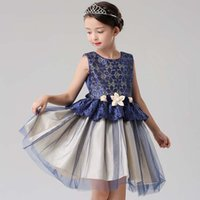 Wholesale Girls Lace Tops Flowers - 2017 dresses girls Children lace flowers sleeveless Europe and american style princess gauze dress top quality