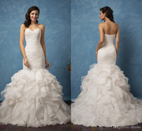 Wholesale Exclusive Bridal Dresses - Exclusive Strapless Lace Ruffles Ivory Mermaid Wedding Dresses 2017 Organza Tiered Pageant Wedding Gowns Formal Bridal Dress Custom Made