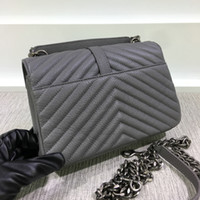 Wholesale American Green Cross - High Quality Women's Medium 24CM Lampskin Leather Chevron Crossbody Bag Classic Style Vintage Chain Messenger Bag Hot Style Bag