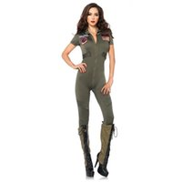 Wholesale Cool Halloween Costumes For Women - 2017 Hot Summer New Arrivals Green Cool Regimental Policewomen Costumes Sexy Cosplay Halloween Jumpsuit For Women Hot Selling