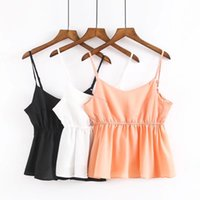 Wholesale European Sexy New Women Clothes - Fashion Women Clothes 2017 New Summer Fashion Simple European Style Sexy Sleeveless Solid Color Backless Camisoles Crop Tops