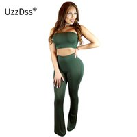 Wholesale Black Jumpsuit Boot Cut - New 2017 Summer Black And Army Green Two Piece Jumpsuit Long Boot Cut Sexy Club bandage Plus Size Women Rompers And Jumpsuits