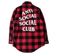 Wholesale Men S Mandarin Collar Shirt - Anti social social club and red tide brand plaid shirt with a shirt for men and women kanye west off white