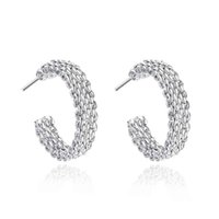Wholesale Weave Earrings - Simple Stainless 925 Silver Fashion Style Weaved Web Earrings Jewellery mens 2013,Wholesale&Free shipping, SMTE082