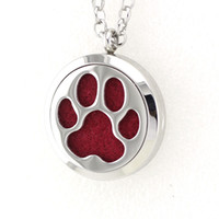 Wholesale Paw Prints Red - 5PCS 30MM Dog Paw Prints Essential Oil Diffuser Perfume Locket Necklace Pendant 2017 Necklace Pendant With Free Pads