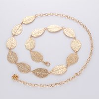 Wholesale Gold Metal Belly Dance - Ladies Dress Belt Hip Waist Metal Chain Leaf Charm Leaves Belly Dancing Waistband Body Chains Gold Silver