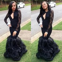 saia longa de organza preta venda por atacado-Africano preto mangas compridas vestidos de baile até o chão sexy ilusão em camadas saia de organza sereia vestidos de noite formal party dress vestidos