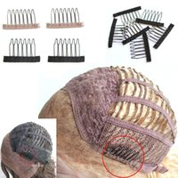 Noir marron 6teeth Perruque peignes Clips lacet Attache Caps Perruque Combs Insert Wig Clips extensions de cheveux outils