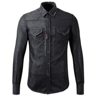 Wholesale Wash Denim Shirt - Black Denim Shirt Cool Guy Slim Fit Longsleeves Washed Vintage Solid Color Cowboy Shirts Man
