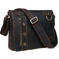 "Wholesale Messenger Bag 13 Men - Wholesale-TIDING Genuine Leather Messenger Shoulder Bags Briefcase Mens casual style 13"" laptop bag 1006"