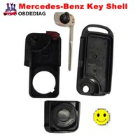 Uncut Blade Key Case 2 boutons pour Mercedes Benz A C E S Flip Folding Remote Key Shell 2 pistes HU64 Blade With Sticker