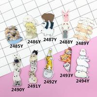 broş ambalaj toptan satış-Toptan-Akrilik Broş Pimleri Kedi Köpek Zürafa Tavşan Broş Kadın Erkek Takı Ayakkabı Paketi Elbise Aksesuarları Japonya Harajuku Rozetleri