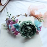 Wholesale Wreath Summer - Girls Flower garland 3D Floral wedding Wreath Bohemian lady headband Summer Fashion beach photography prom party Hair Accessories C2294