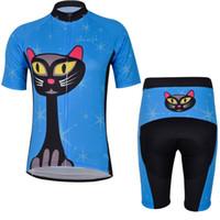 ingrosso bici blu gatto-2017 Donna Blue Cat Cycling Jersey 19D pantaloncini bici da ciclismo set Ropa ciclismo più traspirante per le donne estate abbigliamento da ciclismo