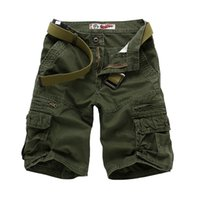 Wholesale Yellow Cargo Shorts Mens - Wholesale-Top Quality Summer Mens Leisure Fashion Short Trousers Man's Cargo Shorts Black Gray Khaki Army Green 28 30 32 34 36 38