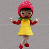 Wholesale Girls Outfit Ems - Higher quality strawberry girl Mascot Costume adults christmas Halloween Outfit Fancy Dress Suit EMS Free Shipping