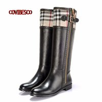Wholesale Brand Design New Fashion Women Knee High Boots Round Toe PU Genuine Leather Boots for Ladies Motorcycle Boots