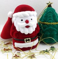 Wholesale jewellery ring display case online - Jewelry Box Velvet Red Santa Claus Design Display Boxes Christmas Gift Ring Earring Ear Stud Necklace Jewellery Case Box Jewelry Organizer